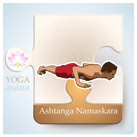 Exercise of yoga practice, yoga postures or yoga positions: Asana - Ashtanga Namaskara Illustration