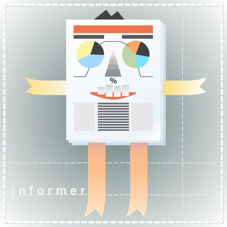 informer: Creative, cartoon image of a man as an informer as an element of infographics.
