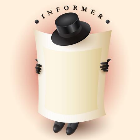 trabajo oficina: Imagen creativa, dibujo animado de un hombre como informante como un elemento de la infografía. Vectores