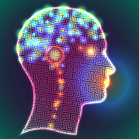 해부학 적 표현. 두뇌에서 뉴런의 다채로운 상징과 인간의 머리의 프로필 일러스트