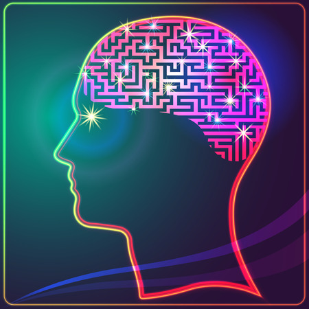 enfermedades mentales: Representación anatómica. Perfil de una cabeza humana con un símbolo colorido de las neuronas en el cerebro