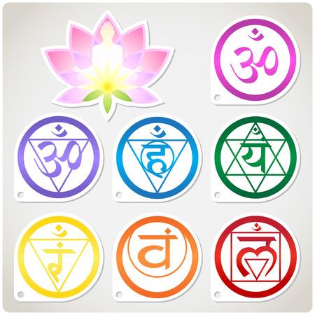 Der Zeichensatz der Chakren und der Lotus - die spirituellen Praktiken des Buddhismus Standard-Bild - 41510586