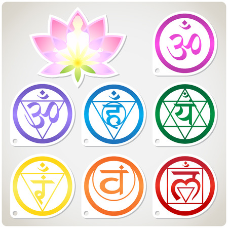 The character set of the chakras and the lotus - the spiritual practices of Buddhism 矢量图像