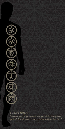 yogic: Stylish image symbol chakras man on a dark background in the form of postcard Illustration