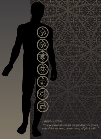 the energy center: Stylish image symbol chakras man on a dark background in the form of postcard Illustration