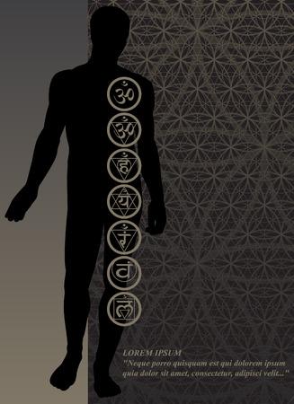tantric: Stylish image symbol chakras man on a dark background in the form of postcard Illustration