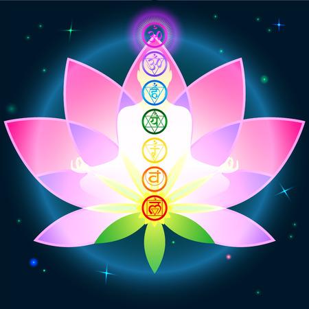 Stijlvolle afbeelding symbool chakra man op een donkere achtergrond in de Lotus Stock Illustratie