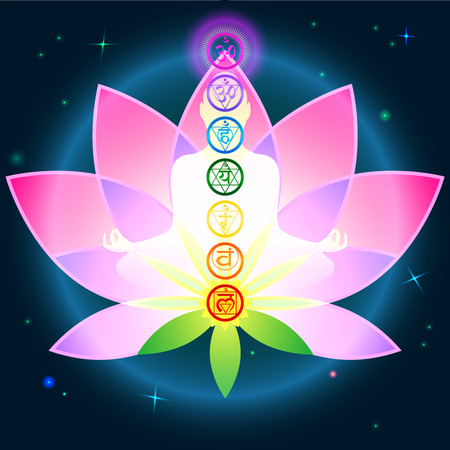 the energy center: Stylish image symbol chakra man on a dark background in the Lotus Illustration