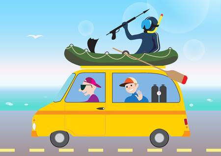 repose: Funny pictures of active summer holiday by car in cartoon style Illustration