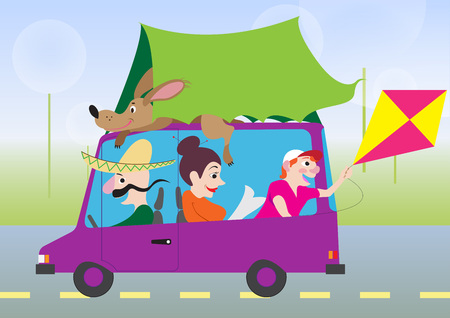 funny pictures: Funny pictures of active summer holiday by car in cartoon style Illustration