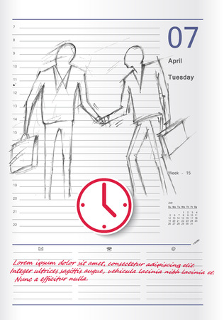 appointment: Hand-drawn sketch of the events on the calendar for reminders