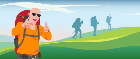 tourists: A realistic picture of happy tourists with backpacks on a background of bright green landscape.