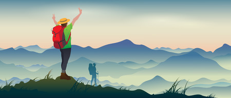山の風景の背景にバックパックで満足している観光客の本当の絵。  イラスト・ベクター素材