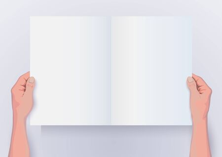 point of view: Point of View hands holding blank paper for infographics Illustration