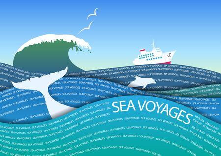 wave tourist: The stylized image of a sea voyage on a cruise ship. Illustration