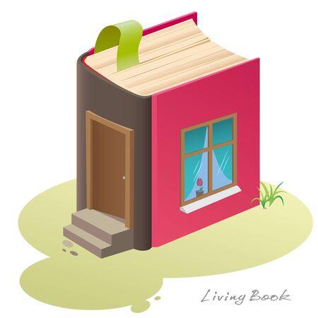libro caricatura: Casa-libro. La idea hogar original en la forma de un libro en una caricatura estilizada.