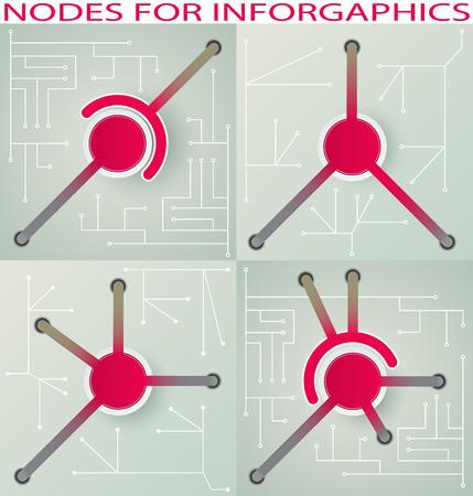 nodes: Set interconnected nodes for infographics Illustration