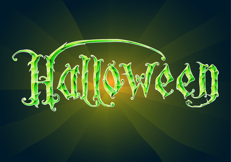 The word Halloween hand-drawing template for the design and printing