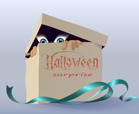 hidden danger: Gift box with a fun surprise for Halloween