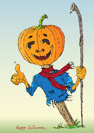 cartoon halloween: Funny cartoon character Pumpkin for Halloween Illustration