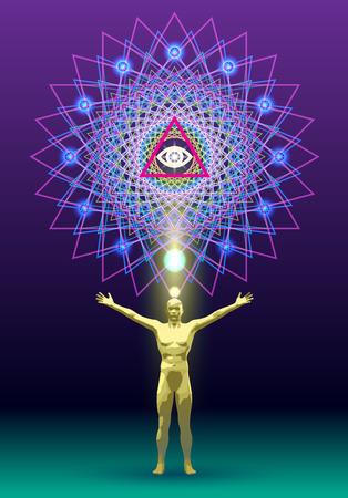 우주와의 연결 고리 인 만다라의 상징적 인 이미지 일러스트
