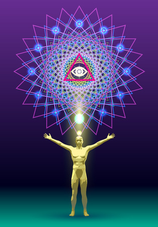 The symbolic image of the mandala as a link man with the cosmos 版權商用圖片 - 45266836