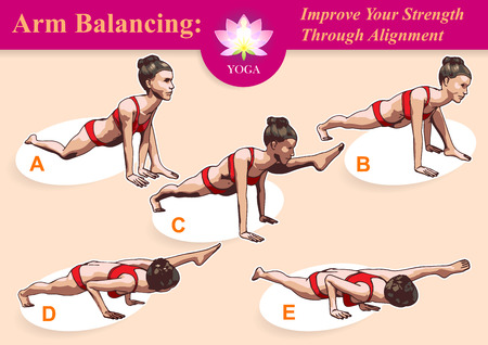 balancing: Illustrated step-by-step instruction for mastering Arm Balancing Split to practice yoga. Illustration