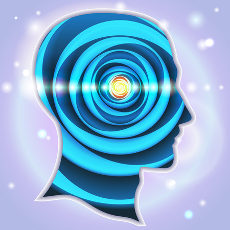 telepathy: Profile of human head with a beautiful symbol of the pineal gland Illustration