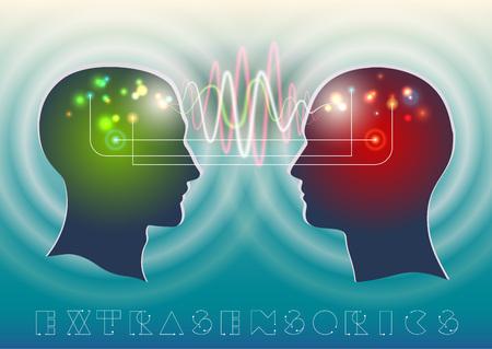 enfermedades mentales: Perfil de la cabeza humana con un hermoso símbolo de las ondas psíquicas y mentales en el cerebro como un medio de comunicación