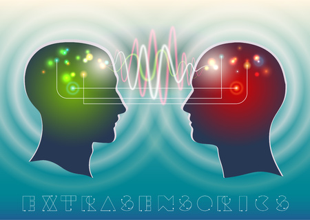 psychic: Profile of human head with a beautiful symbol of the psychic and mental waves in the brain as a means of communication