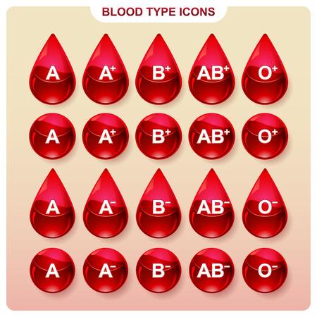 Modelli icone per indicare il gruppo sanguigno in infografica Archivio Fotografico - 47014330