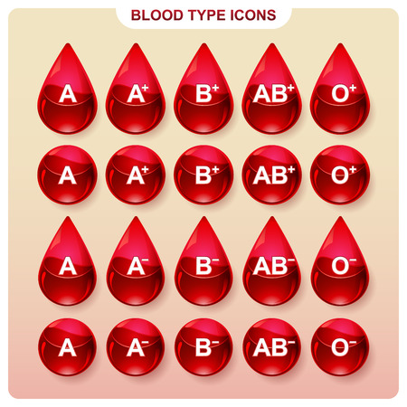 hematology: Templates icons to indicate the blood group in infographics Illustration