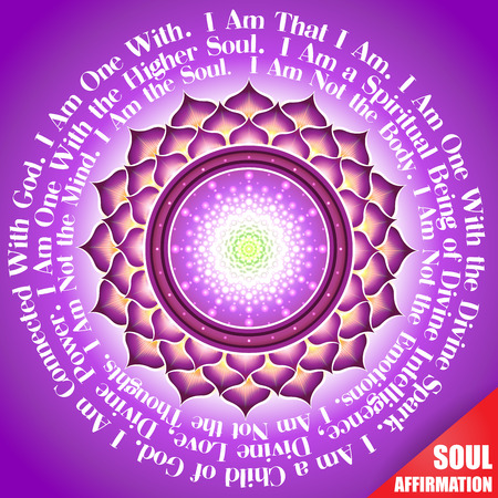 affirmations: The symbolic image of the soul and the text of inspirational affirmations and encouraging quote. Illustration