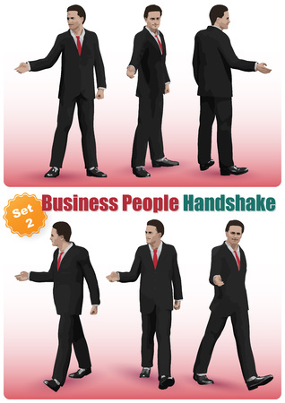 respectable: Realistic characters Set of business people shaking hands in a pose Illustration
