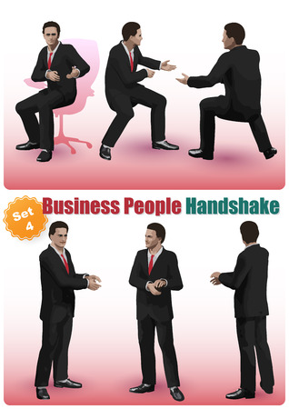personable: Realistic characters Set of business people shaking hands in a pose Illustration