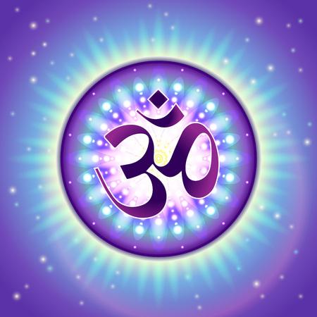 Vedic Om 기호 - 신성한 소리와 영적 아이콘의 다채로운, 자세한 그림. 일러스트