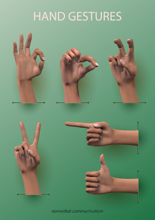 gesticulation: Set realistic vector image hand gestures nonverbal communication