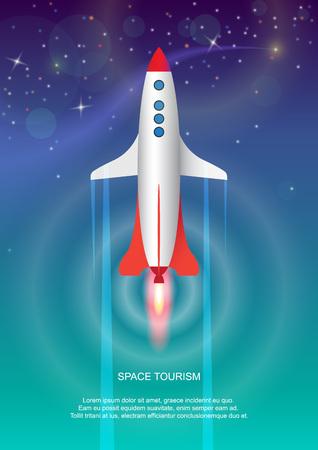 우주 관광의 상징으로 공간에서 비행하는 로켓의 창조적 인 그림.