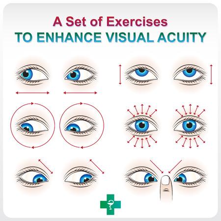 안과 수당. 연습의 의료 시각 보조 세트는 시력을 증가시킵니다. 일러스트