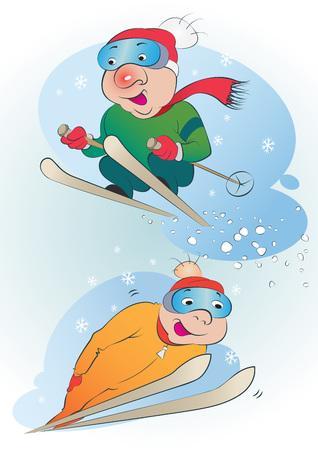 deportes caricatura: Un conjunto de esquiadores divertidos dibujos animados dos durante las vacaciones de invierno.