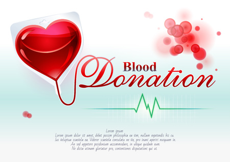 Representative symbolic, creative illustration of blood donation with the elements of graphic design: heart, blood, ECG and text support