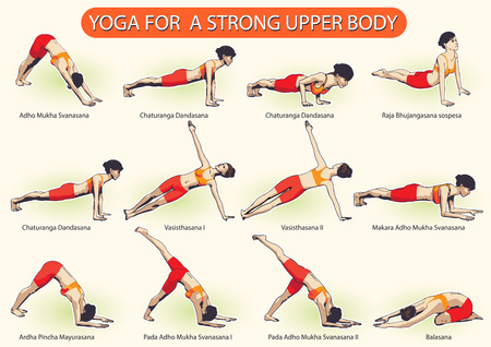 Tutorial of a set of female figures complex visual sequence of yoga exercises for a strong upper body. Illustration