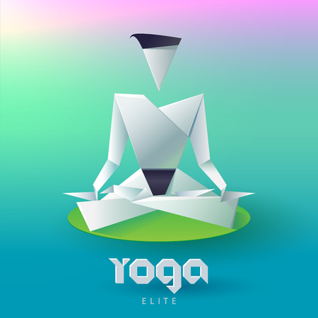 an elite: Yoga man in the lotus position in the form of origami Logo Design Vector template. Healthy Natural Lifestyle Logotype Concept Icon. Yoga Elite Origami.