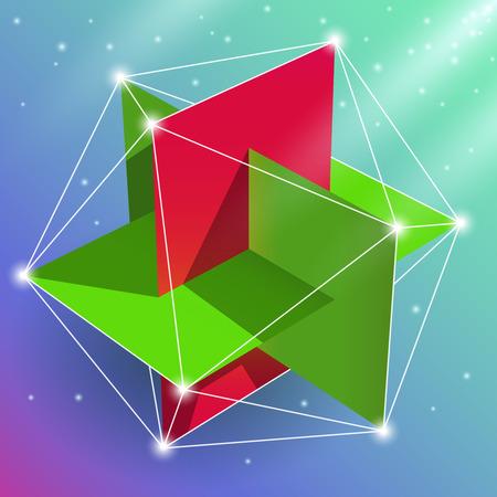 icosahedron: Geometric figure regular icosahedron, sacred geometry element. Visual, creative representation of the spatial construction of a multi-faceted design.