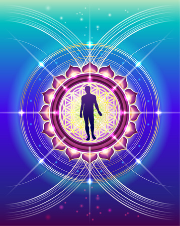The symbolic, abstract image of human development with elements of sacred geometry
