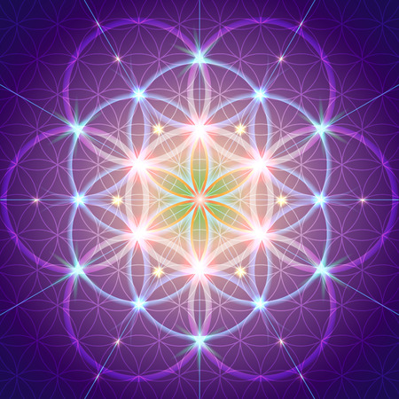 Symbols of sacred geometry, depict fundamental aspects of space and time.Flower of life symbol variations. Ilustracja