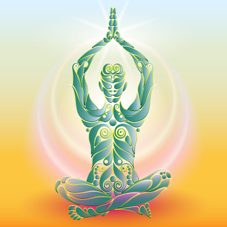 asanas: Yoga man in the position in the form of the original organic plant design template. Healthy natural lifestyle Icon Concept. Elite Life Yoga. Illustration