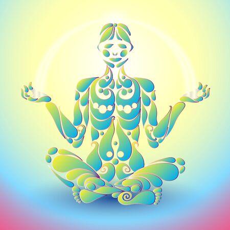 vida natural: Hombre de la yoga en la posición en la forma de la plantilla original diseño de la planta orgánica. Concepto de estilo de vida natural y saludable. Yoga Vida élite. Vectores