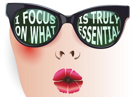 Weibliches Gesicht mit Brille eingeschrieben Affirmation: Ich konzentriere mich auf das, was wirklich wesentlich. isoliert Typografie Design-Element für Grußkarten und T-Shirt-Design oder Home-Dekor-Element. Standard-Bild - 56756417