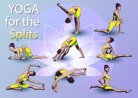 Eine Reihe von Yoga-Stellungen weiblichen Figuren: Folge von körperlichen Übungen in Form von kreativen, visuellen Plakat Yoga für Splits. Vektorgrafik